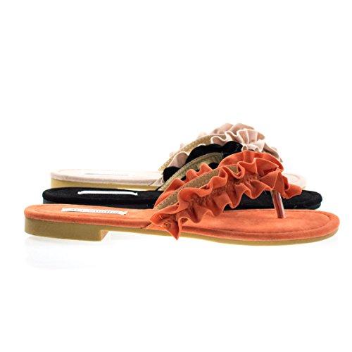 Sandals Thong Orange (Vintage7 Orange Ruffled Strap Slip On Flat Thong Sandal, Women Open Toe Shoes -7)