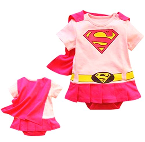 VogueFashion Baby Superhero Jumpsuit with Removable Cape and Shoes (18-24 Months, Supergirl Dress)