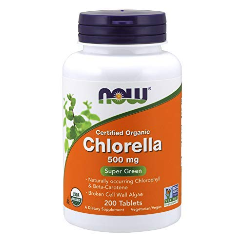 Organic Chlorella 500 mg with Naturally Occurring Chlorophyll FamilyValue 2Pack (200count) yez#Now