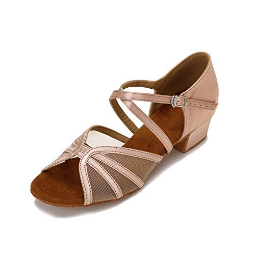CLEECLI Low Heel Ballroom Shoes Latin Salsa Dance Shoes for Social Beginner Practice Dancing 1.5 Inch Heel ZB14(9,Nude) (Best Heels For Dancing)