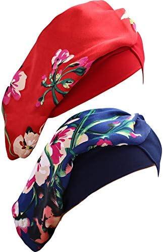 2 Piezas de Gorro de Dormir Elástico Turbante de Satén de Mujeres Gorra de Noche Floral Sedosa para Mujeres, 2 Colores (Azul Real, Vino Tinto): Amazon.es: Belleza