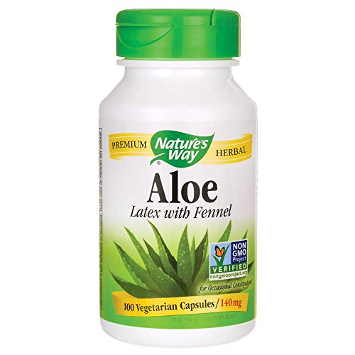 Natures Way Aloe Latex with Fennel 140 mg, for Occasional Constipation, 100 VCaps (Packaging May Vary)