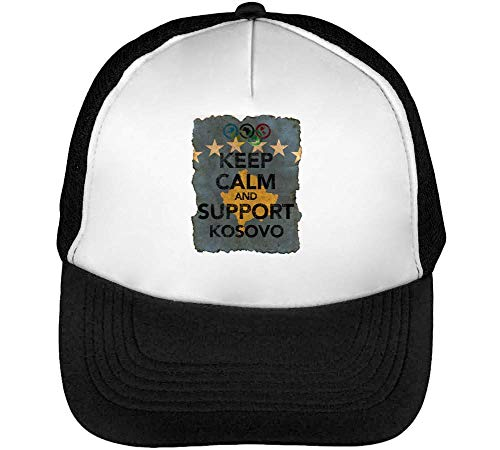 Vintage Keep Calm Support Kosovo Flag Background Gorras Hombre Snapback Beisbol Negro Blanco