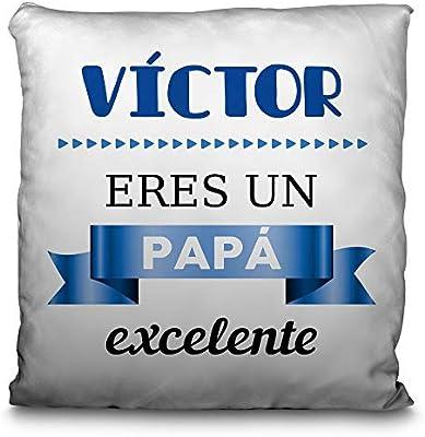 Lolapix Cojín Personalizado con tu Foto, Imagen, Nombre o Texto. Varios diseños y tamaños. Regalo Original para Papa.PAPÁ EXCELENTE