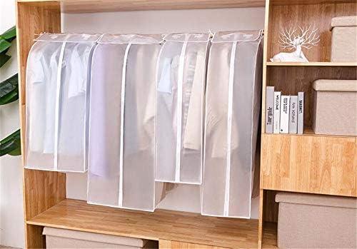 ZJDU Garment Cover Protector PEVA Translucent Clothing Dustproof Cover Wardrobe Hanging Storage Bag Garment Rack ProtectorMagic Tape and Zipper60x30x110cm