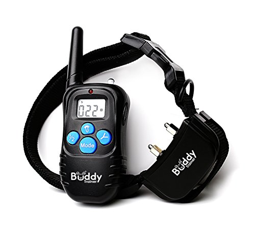 Buddy Trainer Rechargeable Dog Training Collar with Remote | Safe Audible Warnings, Flashing Lights, Variable Vibration and Shock | Adjustable Length, LCD Display