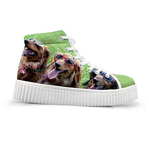 Klemmer Ideen Søt Hund Utskrifts Sko Uformell Snøring Høy Topp Plattform Sneaker Shoes12