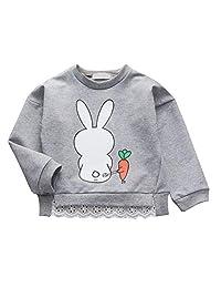 Zhengpin. Toddler Baby Girls Cartoon Rabbit Print Pullover Sweater Sweatshirts Long Sleeve Outerwear