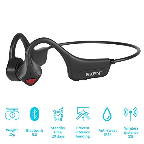 EKEN Bone Conduction Headphones, Bluetooth 5.0 with Mic Open-Ear Wireless Stereo Music Lightweight 25g Sweat-Resistant Answer Phone Call for Running, Hiking, Driving, Bicycling - Black ...