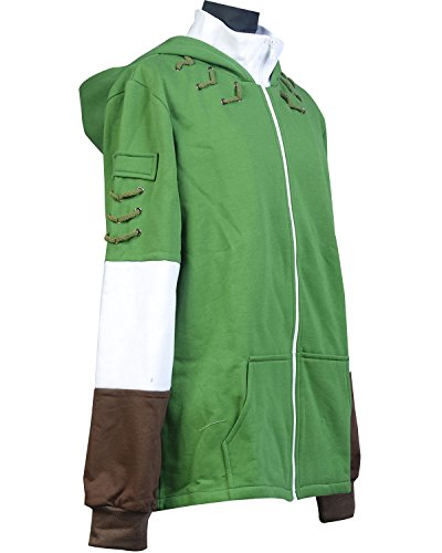 Ya-cos The Legend of Zelda Link Hooded Coat Sweatshirt with Minish Cap Costume Green by Ya-cos