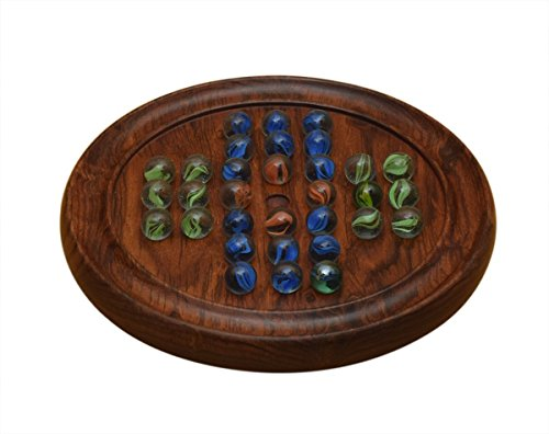 Marble Peg Wooden Solitare With Marbles Board Game For Family Kids Includes Colored Glass Balls