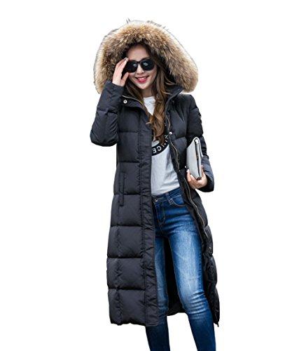 Homieco Femme Doudoune Longue Hiver Chaud Manteau Longueur du Genou Manteaux Parka Jacket Fourrure avec Capuche Blouson Noir