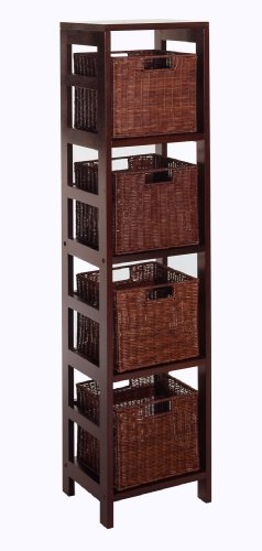 Winsome Wood Leo Wood 4 Tier Storage Shelf with 4 Small Rattan Baskets