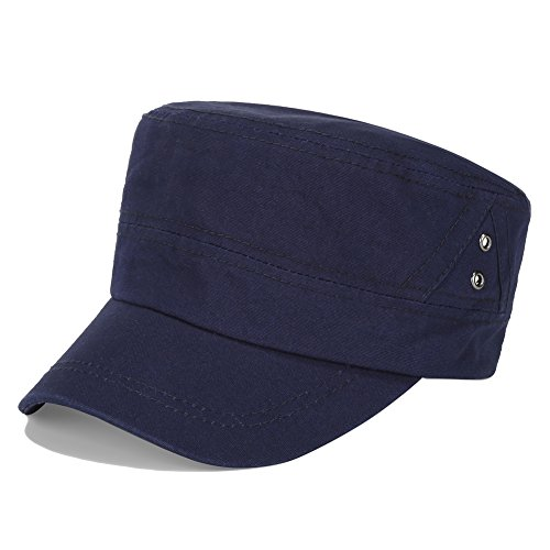 Vankerful Men's Twill Cotton Peaked Baseball Cap Cadet Army Cap Military Corps Hat Cap Visor Flat Top Adjustable Baseball Hat DFH198 Navy
