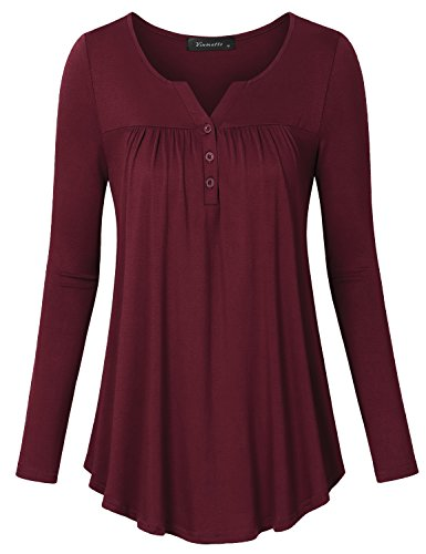 Womens Plus V-neck Shirt (Vinmatto Women's Long Sleeve V Neck Pleated Button Details Tunic Shirt Top (XL, Solid Wine Red))