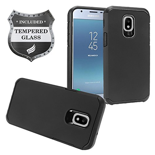 Z-GEN - Galaxy J3 2018 J3 Star/Achieve/Aura/Orbit, Sol3, Express Prime 3, Amp Prime 3, J3 V J3V 3rd Gen J337 - Rubberized Hybrid Case for Samsung + Tempered Glass Screen Protector - AH2 Black