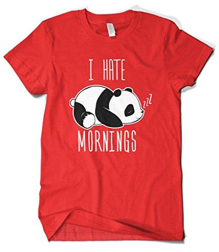 Cybertela Men's I Hate Mornings Panda Bear T-Shirt (Red, (Hate Red T-shirt)
