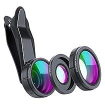 SKYVIK SIGNI 3 in 1 Mobile Camera Lens Kit, Super Wide Angle, 198 Fisheye, 15x Macro for All Smartphones