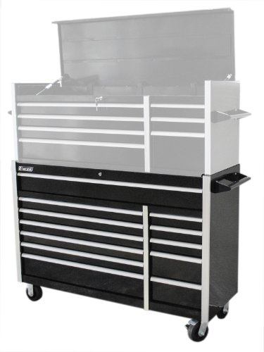 Excel TB5607B-Black 56-Inch Roller Metal Tool Cabinet with 12 BBS Drawers