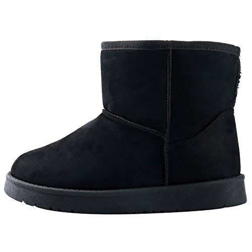 Women's Fur Snow Lined Classic Leroy Mid Faux Pull Black Slippers Calf Boot On Alexis C5H8gn