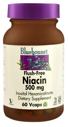 Bluebonnet Nutrition Flush-Free Niacin -- 500 mg - 60 Vcaps® - 3PC by Blue Bonnet