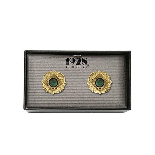 14K Gold Dipped Semi-Precious Green Aventurine Cuff Links 14k Green Cufflinks