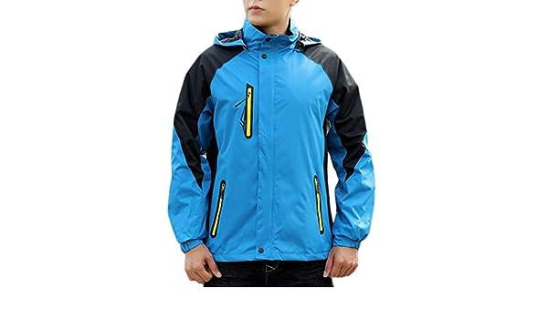 XXBlosom Men Loose Hooded Outdoor Spell Color Big /& Tall Windproof Parkas Coat