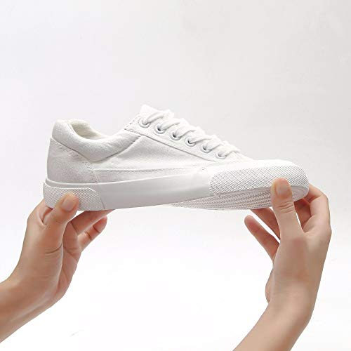 XINGMU Zapatos De Mujer Zapatos Deportivos Blanco/Negro Zapatos De Mujer Superficial Y Ligera Costura Sólidos Zapatos De Tela Mujer Blanco