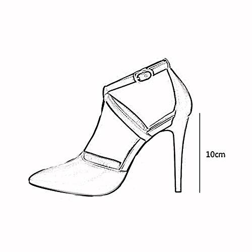 tacón Altura Negro Trabajos Negro talón Negro de mujer altos Tacones verano CN36 Sandalias TPR de Zapatos del Blanco Ocio PU Color Tamaño Hueco de YXINY UK4 Zapatos EU36 10CM fqaEZxw