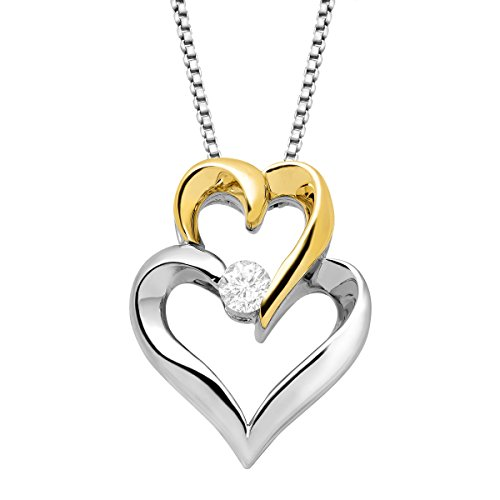 1/10 ct Diamond Interlocking Hearts Pendant Necklace in Sterling Silver & 14K Gold