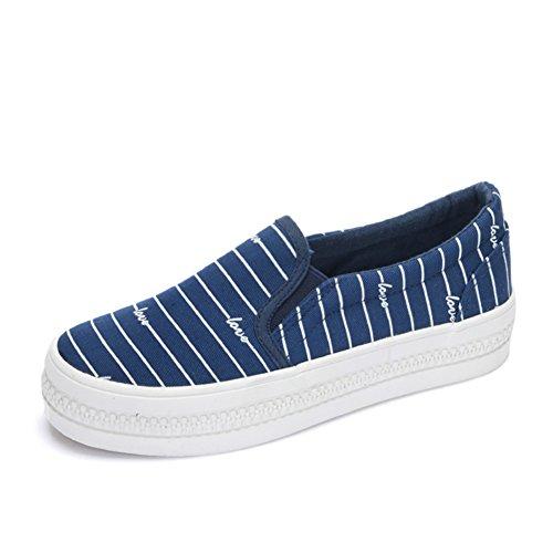 zapatos de lona de verano y otoño/Mocasín/ zapatos de plataforma de fondo grueso perezoso/Ayuda baja conjuntos de bandas foot zapatos casuales D
