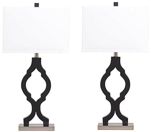 Ashley Furniture Signature Design - Rosetta Table Lamps - Trellis-Style Base - Contemporary - (Ashley Furniture Brush)