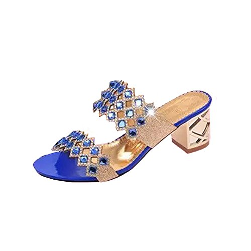 Women's Crystal Rhinestone Patterned Handmade Sandals Platform Wedge Dress Sandals Slippers (Blue -1, US:7.5)