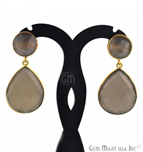 Choose Your Smooth Bezel Gemstone Stud Earring 24k Gold Plated Exclusively by GemMartUSA -Smokey Topaz (CSER-90014)