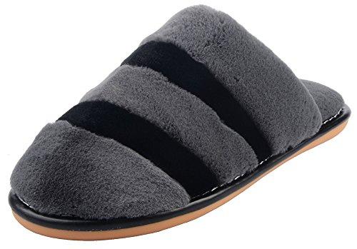 UIESUN Mens Warm Slippers Winter Soft Bedroom Indoor House Slipper shoes Grey 42/43