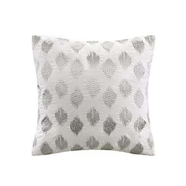 INK+IVY Nadia Dot Metallic Embroidery Square Pillow, Silver