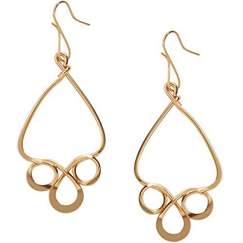 Humble Chic Filigree Drop Dangles - Hypoallergenic Vintage-Style Abstract Spiral Chandelier Earrings for Women, 18K Yellow, Gold-Electroplated