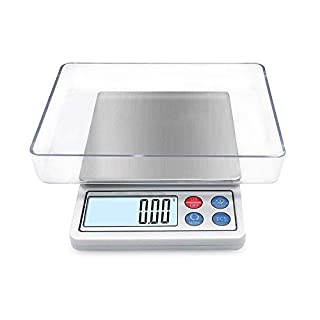 Digital Gram Scale Toprime Mini Size Food Scale 2000g x 0.1g High Precision Pocket Scale with LCD display and 1 Tray Stainless Steel PCS Convert Unit White