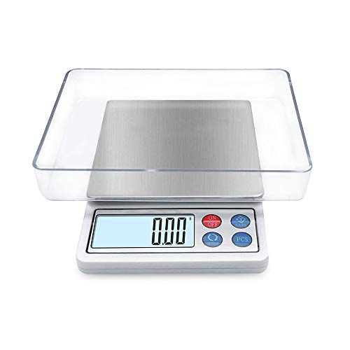 (Digital Gram Scale Toprime Mini Size Food Scale 600g x 0.01g, High Precision Pocket Scale with LCD display and 1 Tray, Stainless Steel, PCS, Convert Unit - White)