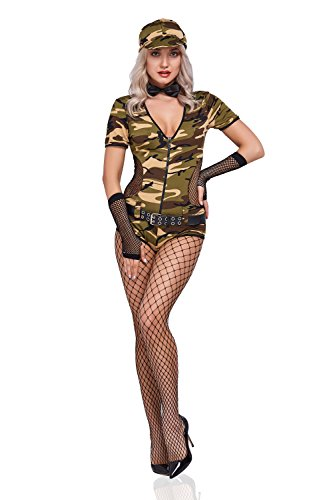 Women Sexy Soldier Costume Camo Playsuit Army Girl Pin Up Military Adult Role Play (Khaki) - Pin Up Military Costumes