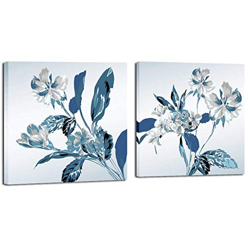 Mon Art Retro Blossom Flower Orchid painting Canvas Print wall art blue leaves white Magnolia floral pictures Pure Fresh Contemporary home decor Framed Artwork for Bathroom living room Decoration 2pcs (Art Abstract Blue And White)