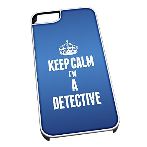 Bianco cover per iPhone 5/5S blu 2568Keep Calm I m A detective