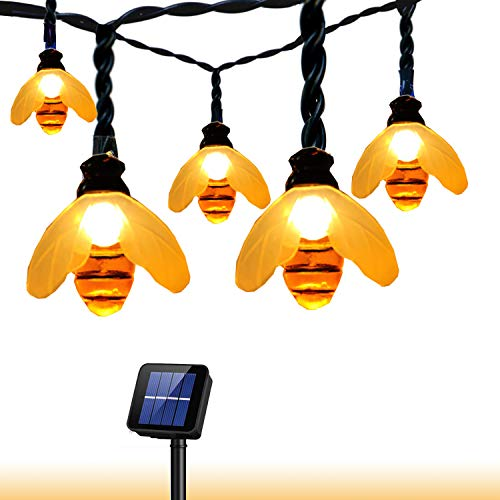 Outdoor Solar String Light Garland 30LED Fairy String Lights Bee Decorative Lighting for Indoor Garden Home Patio Lawn Party Holiday Ooutdoor Decor(20FT) (Warm White bee)