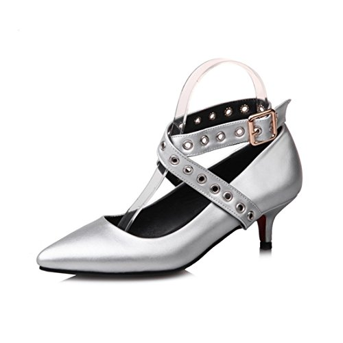 RFF-Zapatos de primavera, verano y otoño Zapatos de Tacón/European and American Big Code Women Shoes Pointed High, Low and Shoes Silver