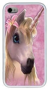 Cutie Pie Unicorn TPU Silicone Case Cover for iPhone 4/4S White