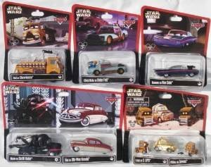 Disney Cars 1:55 Scale Diecast Star Wars Series 1 & 2, complete set of 15 cars (11 packages including 3 multi-packs) Mater as Darth Vader, Doc as Obi-Wan Kenobi, Luigi as C-3PO and 2 Pitties as Jawas, Ramone as Han Solo, Chick Hicks as Boba Fett, Red as Chewbacca, Lightning McQueen as Luke Skywalker X-Wing Fighter Pilot, Mater as Darth Vader, Sally as Princess Leia, Luigi & Guido as C-3PO & R2-D2, Tractor as a Stormtrooper , Fillmore as Yoda (Chick Hicks Boba Fett)