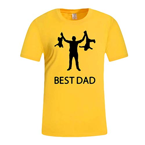 Men's Summer Casual Print Short Sleeve T-Shirt Gift for Worlds Best DAD Tops Yellow