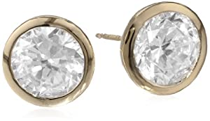 18k Yellow Gold-Plated Sterling Silver and Cubic Zirconia Stud Earrings by PAJ, Inc