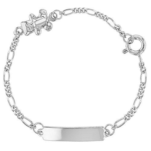 925 Sterling Silver Little Teddy Bear Tag ID Identification Bracelet for Baby 5