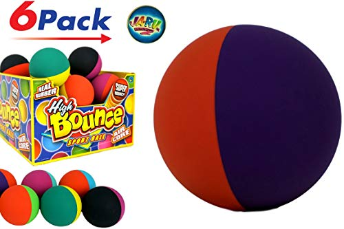 JA-RU Mega Super Bouncing Ball (Pack 6) Plus 1 Collectable Small Ball Air core | Item #990-6slp